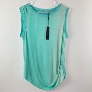 NWT Tahari Teal Distressed Sleeveless Shirt Medium